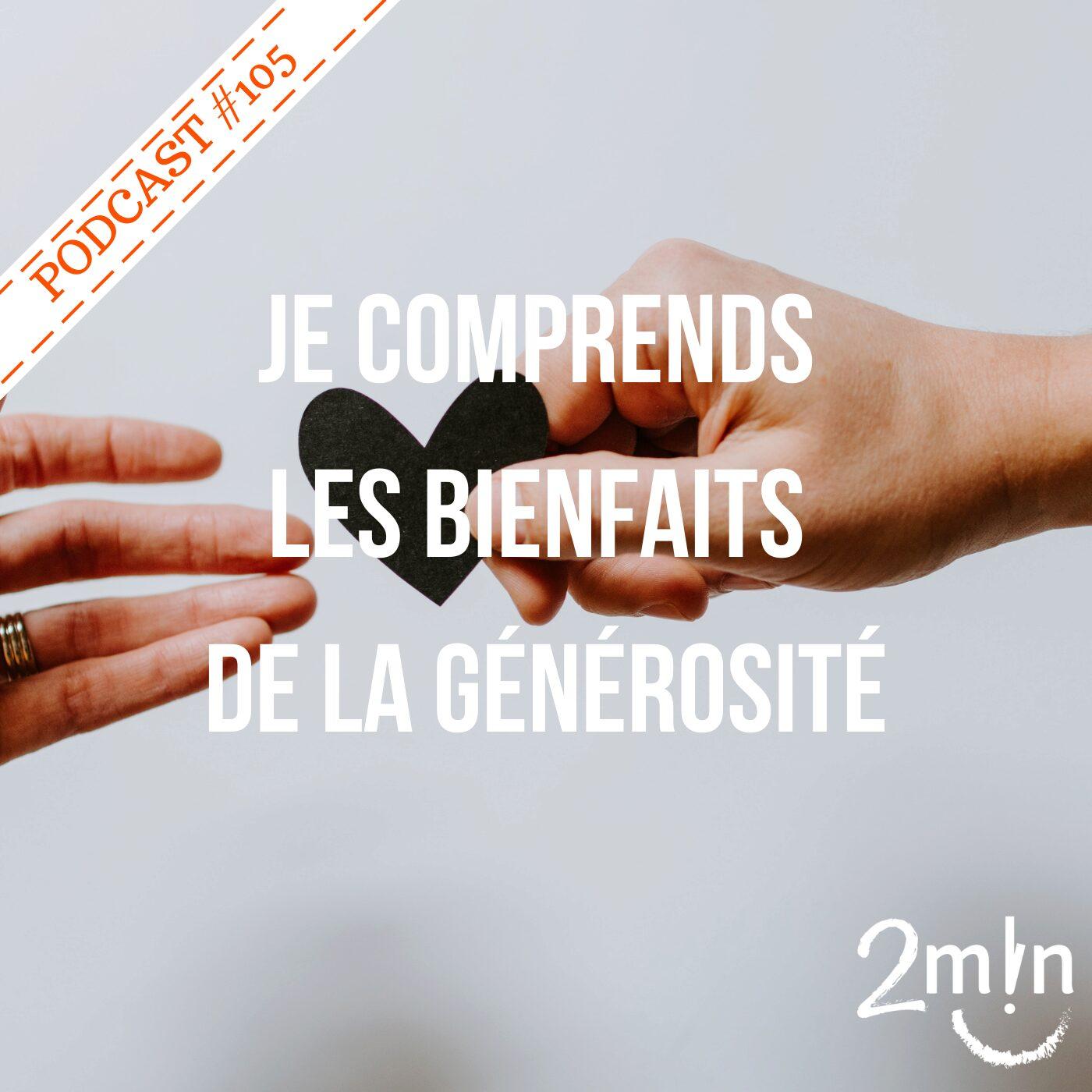 BdeB #105 Je comprends les bienfaits de la générosité